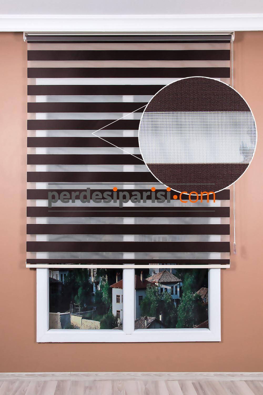 düz kahve zebra perde